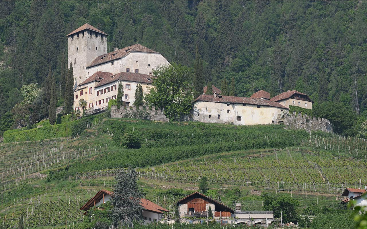 Monteleone Castle on a hill in Cermes town, South Tyrol