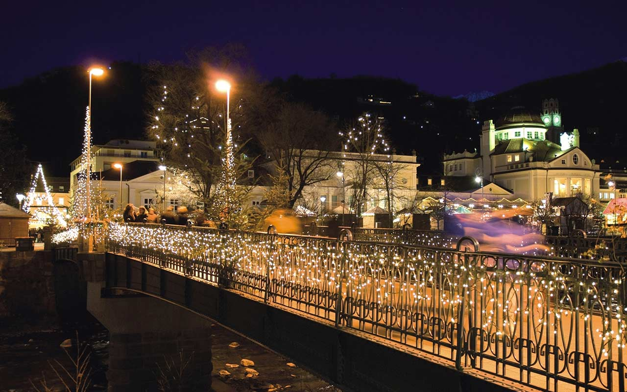 Lighted bridge in Merano during the Christmas time